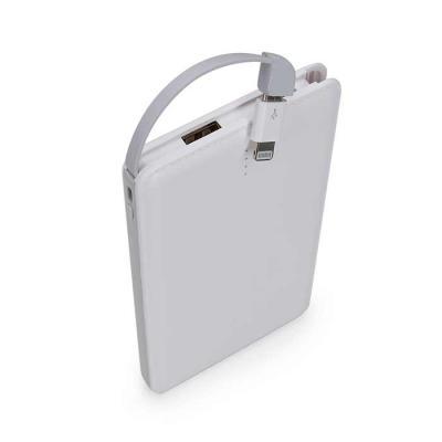 canarinho-brindes - Power bank plástico slim com níveis e adaptador lightning. Material plástico resistente com texturização semelhante à couro sintético, possui botão la...