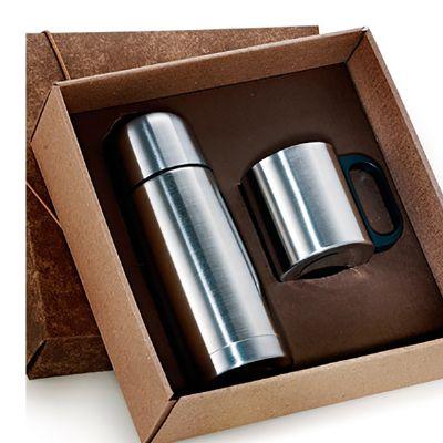 Canarinho Brindes - Kit com garrafa térmica de 500 ml e caneca de 200 ml.
