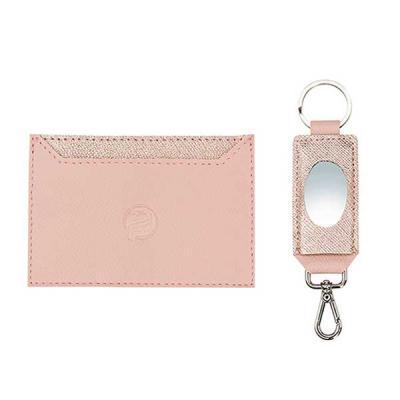 Alvo Couros - Kit feminino possui um incrível e prático porta cartão em couro com detalhes em transfer rose e  um charmoso chaveiro com espelho . Um maravilhoso pre...