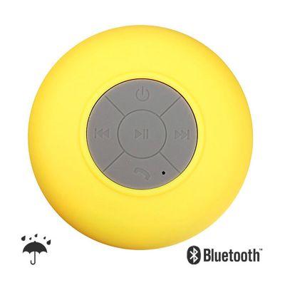 Brindes Play - Caixinha de som Bluetooth resistente à água. Com material de ABS emborrachado. Dimensões: 8 (diâmetro) x 5 cm (altura). Peso aproximado com embalagem:...