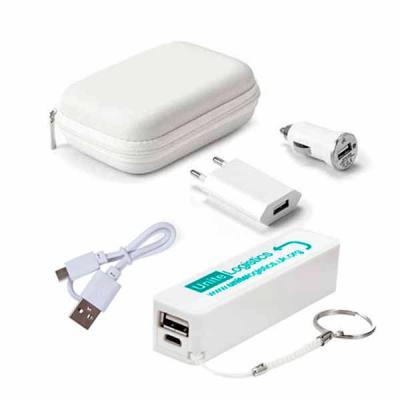 Brindes Play - Kit carregador personalizado USB, inclui Um estojo em EVA, um Power bank, um carregador de corrente DC 100 A 240v, um carregador para carro DC12-24V,...