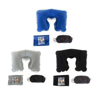 Brindes Play - Kit viagem. Incluso almofada de pescoço, máscara para dormir, tampões paraa ouvidos. Fornecido com bolsa em 190T. Bolsa: 150 x 200 mm, TR - 60 x 90 mm...