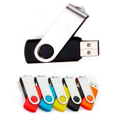 BrinClass - Pen drive giratório cromado e emborrachado. Memória COB - 4 e 8 GB.