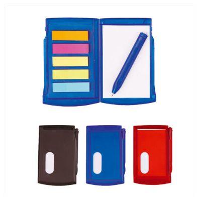 Brindes Play - Agenda de anotações com caneta e etiqueta adesivas.