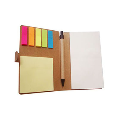 Brindes Play - Bloco de anotação e caneta, material reciclado e sticky note.