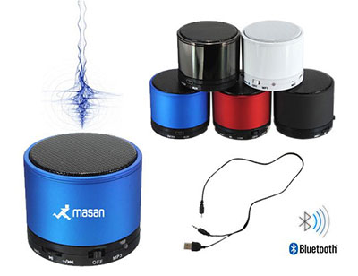 Brindes Play - Caixinha de som com bluetooth recarregável.