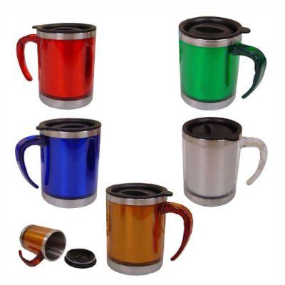 BrinClass - Caneca de metal de acrílico 400 ml com tampa.