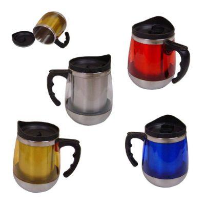 BrinClass - Caneca de metal 450 ml com tampa no formato de jarra.