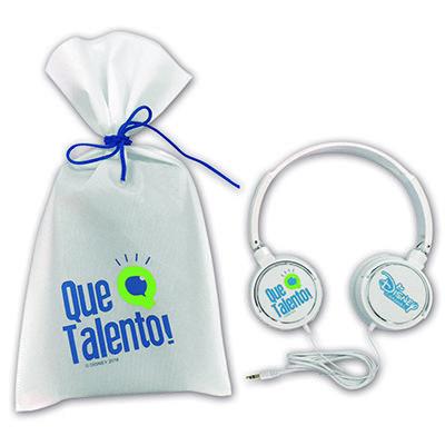 Águia Promocional - Fone de ouvido personalizado com embalagem personalizada.