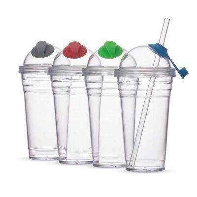 Topy 10 Brindes - Copo Plástico 480ml com Canudo