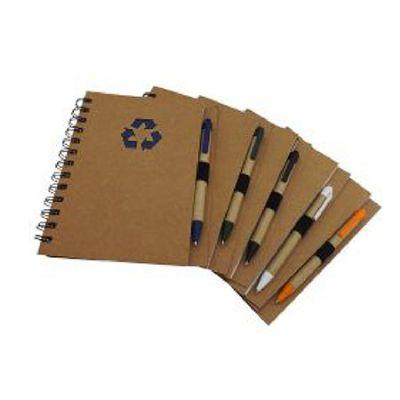 Topy 10 Brindes - Bloco de anotações e caneta em material ecológico.
