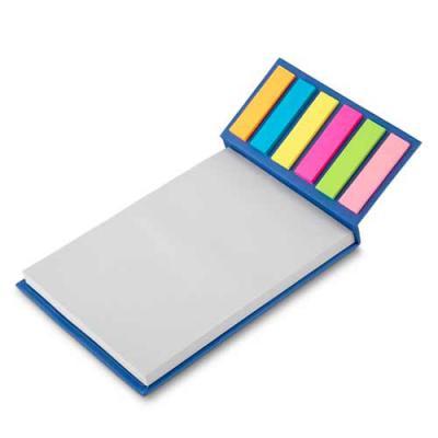 3RC Brindes - Bloco de anotações ecológico com sticky notes. Capa colorida, possui 6 bloquinhos autocolantes coloridos com aproximadamente 20 folhas e bloco branco...