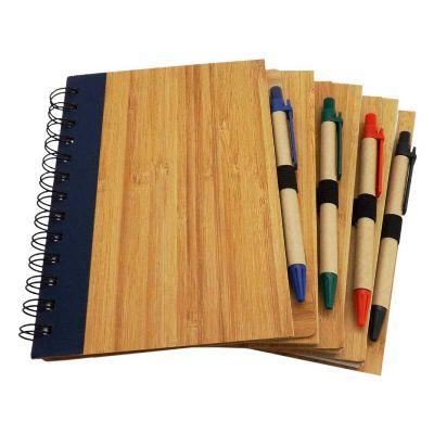 3RC Brindes - Bloco de anotações com caneta e  capa de madeira