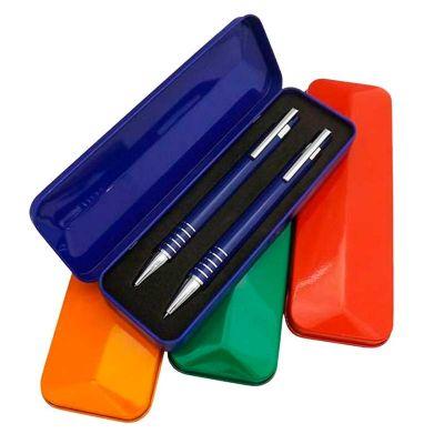 3RC Brindes - Conjunto de caneta e lapiseira semi-metal com caixa plástica