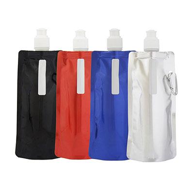3RC Brindes - Squeeze dobrável com mosquetão, material de plástico, capacidade para 480 ml