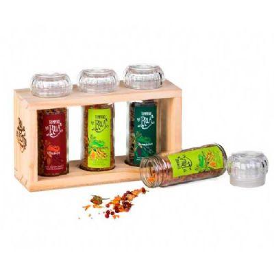 Rua do Alecrim - Trio de especiarias da Rua do Alecrim com porta temperos.  3 Mix com moedor:  Mix aromático: alecrim, alfazema (lavanda), zimbro e pimenta da jamaica...