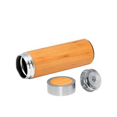 Diferente Mente Brindes - Garrafa térmica. Bambu e aço inox. Com parede dupla e infusor para chá. Capacidade até 430 ml. Fornecida em caixa presente.