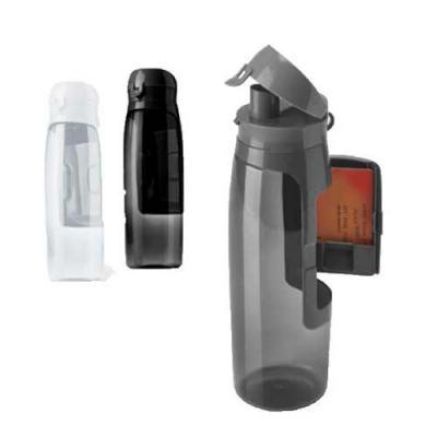 diferente-mente-brindes - Squeeze com compartimento para cartões, chaves e dinheiro. Capacidade: 800 ml. Food grade. ø80 x 260 mm
