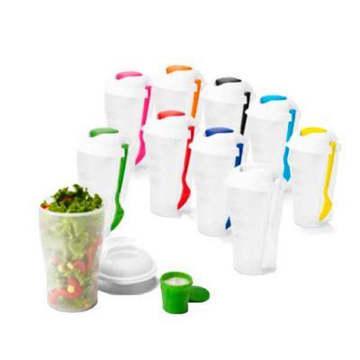 diferente-mente-brindes - Copo para salada com garfo e molheira. Capacidade: 850 ml. Food grade. Tamanho: ø110 x 190 mm