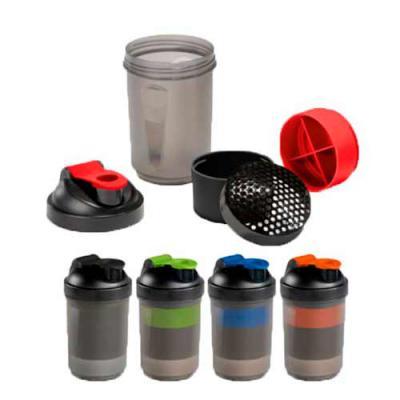 Diferente Mente Brindes - Shaker com 2 compartimentos para guardar suplementos adicionais (320 ml e 150 ml). Com escala de medição até 500 ml/16 ft oz. Capacidade: 630 ml. Food...