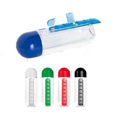 Diferente Mente Brindes - Squeeze com porta comprimidos de 7 divisórias. Capacidade: 740 ml. Food grade. Tamanho: ø75 x240 mm