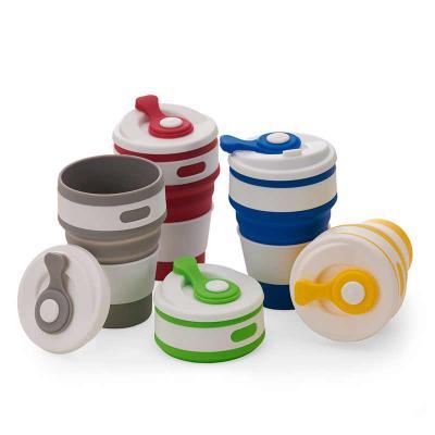 Diferente Mente Brindes - Copo de Silicone retrátil com tampa plástica e proteção do bico em silicone, capacidade 500 ml.