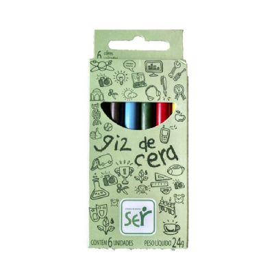 Diferente Mente Brindes - Giz de cera com estojo personalizado contendo 6 cores de meio giz.