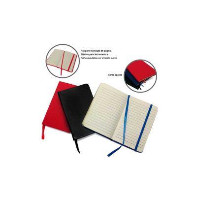 Energia Brindes - Bloco de anotações personalizado, com 80 folhas pautadas, capa dura e elástico para fechamento.