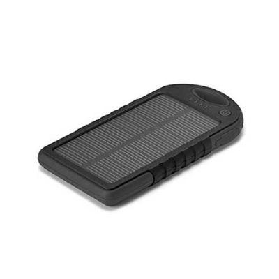 Energia Brindes - Bateria portátil solar personalizada ABS com painel solar e LED. Bateria de lítio. Capacidade: 2000 mAh. Com entrada/saída 5V/1A. Incluso cabo USB/mic...