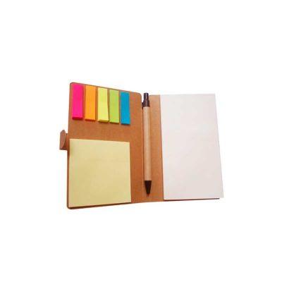 Energia Brindes - Bloco de anotação personalizado ecológico com sticky notes e caneta ecológica de papelão.
