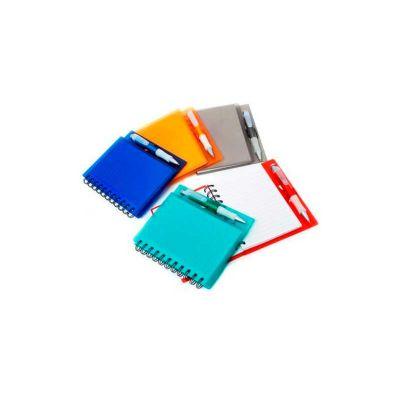 Energia Brindes - Caderno personalizado com caneta de plástico. Personalização em silk na capa