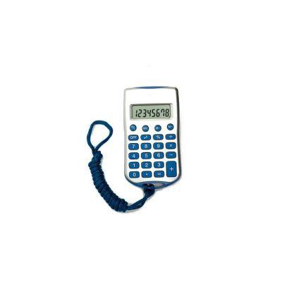 energia-brindes - Calculadora com Cordão, 8 dígitos, nas cores azul e preto e personalização da logomarca em tampografia