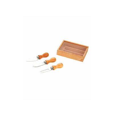energia-brindes - Kit queijo personalizado de madeira com 3 peças.