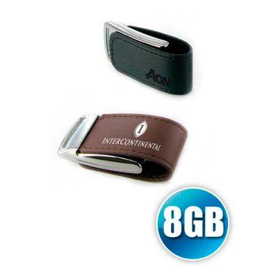 Energia Brindes - Pen drive personalizado em couro com fecho em ímã na capacidade de 8GB.