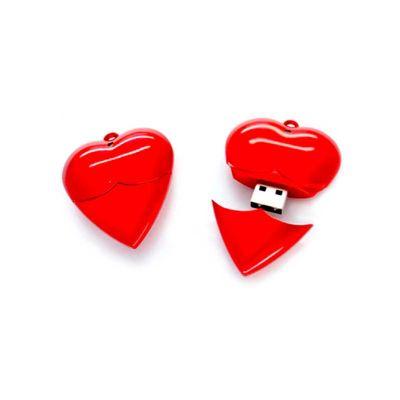 Energia Brindes - Pen drive promocional em formato de coração.