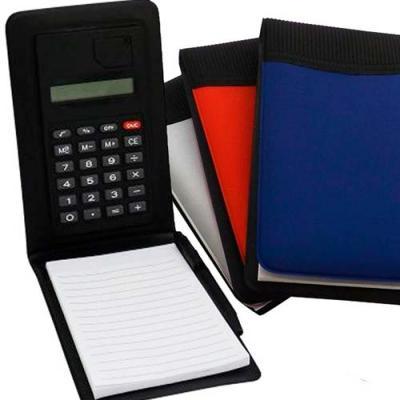 Make Brazil - Bloco de anotações personalizado em couro sintético com calculadora e caneta. Brinde ideal para escritório, jornalistas, departamento comercial e prof...