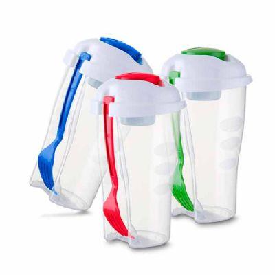 BTM Brindes - Copo plástico 800 ml com recipiente para molho e garfo
