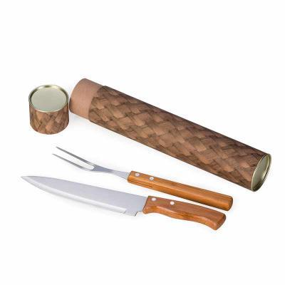 BTM Brindes - Kit churrasco 3 peças em bambu e inox