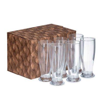BTM Brindes - Kit com 6 copos de vidro para cerveja 200 ml