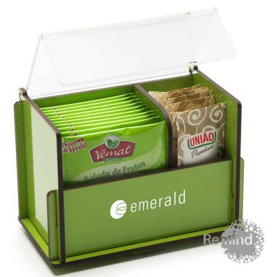 Remind Brindes Inteligentes - Caixa de Chá e Adoçante - Caixa de Madeira com Tampa de Acrílico
