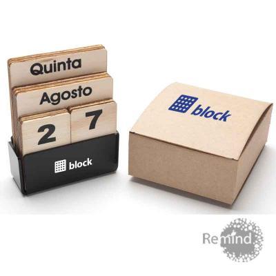remind - Calendário Permanente de Madeira - Box de Acrílico
