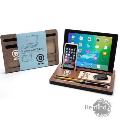 Remind Brindes Inteligentes - Suporte para Tablet e Celular em Madeira Ecológica com Porta Caneta e Clips