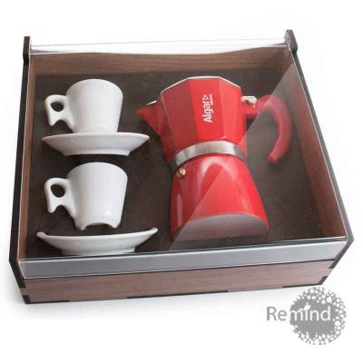 Remind Brindes Inteligentes - Kit Cafeteira Vermelha Tipo Italiana 6 doses com 2 xícaras Design na Caixa de Madeira