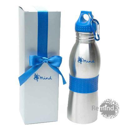 Remind Brindes Inteligentes - Squeeze de Alumínio com Mosquetão e Caixa - Azul