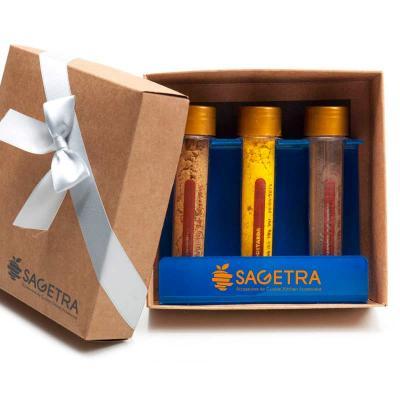 remind - Kit tempero com 3 ampolas de especiarias com suporte de acrílico - Silver