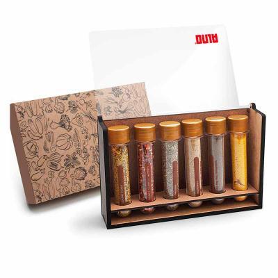 remind - Kit tempero com 6 ampolas de especiarias - caixa de madeira com acrílico
