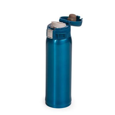 Brindes de Luxo - Garrafa térmica de 450ml de metal inteira colorida com botão de abertura prata. Possui um sistema de trava (basta mover para cima/baixo para abrir/fec...