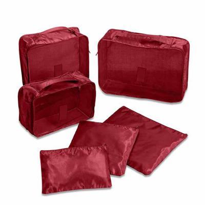 Brindes de Luxo - Kit necessaire organizadores de mala com 6 peças confeccionadas em nylon. O conjunto de necessaires possui tamanhos diferenciados, sendo 3 unidades co...