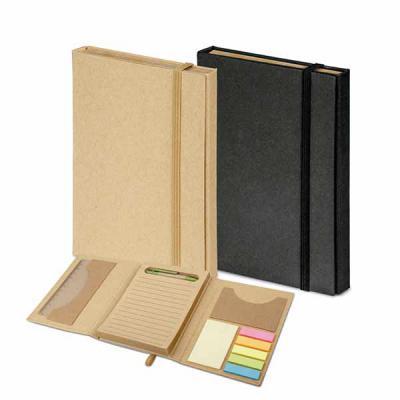 Brindes de Luxo - Kit para escritório com caderno (80 folhas pautadas em papel reciclado), 6 blocos adesivados (25 folhas cada), 1 régua de 12 cm, 1 esferográfica em pa...