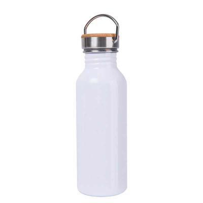 Brindes de Luxo - Squeeze/garrafa de aço inox modelo retrô. Tampa em bambu. Capacidade: 600 ml. Fornecido em caixa.